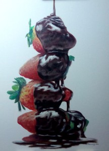 Fresas con chocolate - Oleo sobre cartón entelado Feb 2016